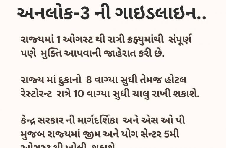 The state government has announced the guideline of Unlock-3.  રાજય સરકારે જાહેર…