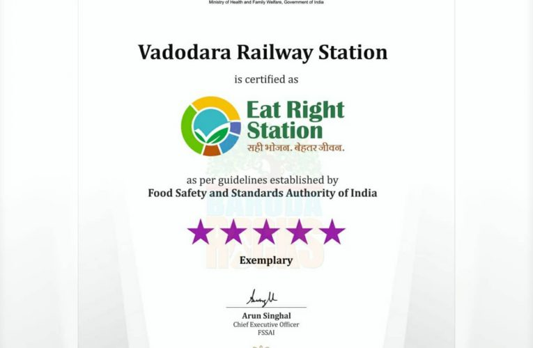 "Vadodara railway station is certified as ""Eat Right Station"", with 5 s…"